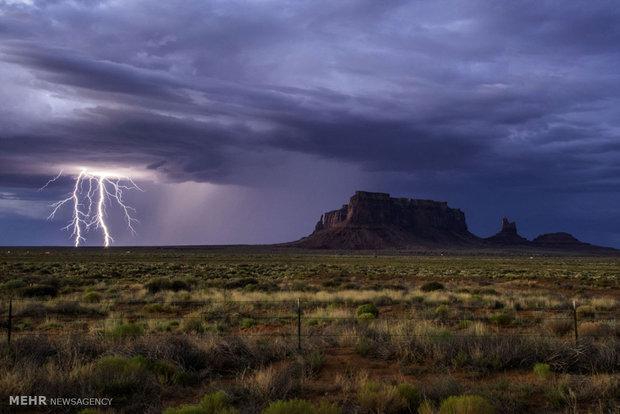 بارش باران در استان سمنان ادامه دارد، رعد و برق در ارتفاعات