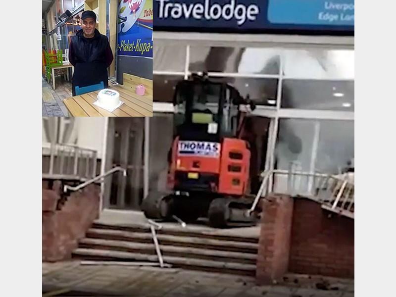 کارگر طلبکار با بولدوزر ساختمان هتلی را تخریب کرد