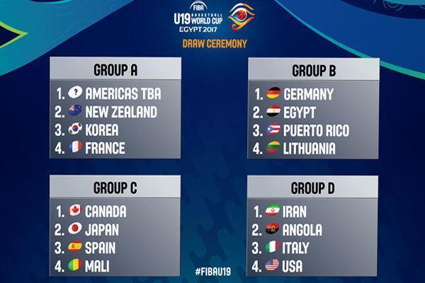 حریفان تیم بسکتبال جوانان در جام جهانی مشخص شدند