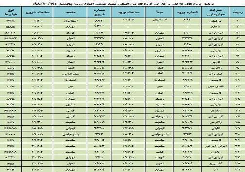 فهرست 26 پرواز فرودگاه شهید بهشتی اصفهان در نوزدهم دی