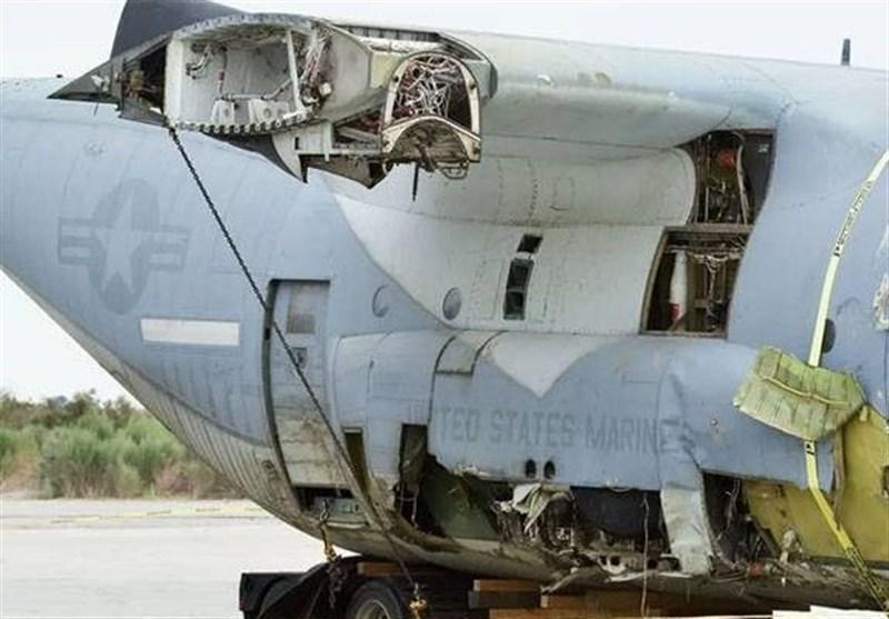سقوط جنگنده اف-35 آمریکایی پس از برخورد به هواپیمای سوخت رسان نظامی
